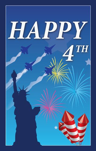 """Patriotic Theme Happy July 4th With Statue Of Liberty Garden Flag Decorative Flag - 12.5""""x18"""""""