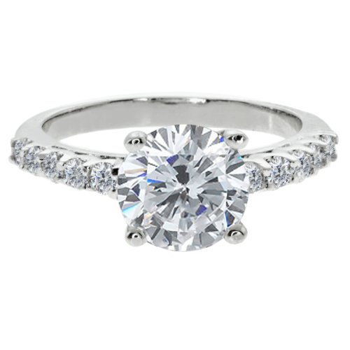 4.30 Ct Round Brilliant White Cubic Zirconia CZ Engagement Wedding Ring