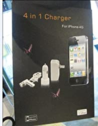 AndAlso 4 in1 Car Charger Travel & USB Charger Data Cable For iPad 2, iPhone4 and iPod or MP3