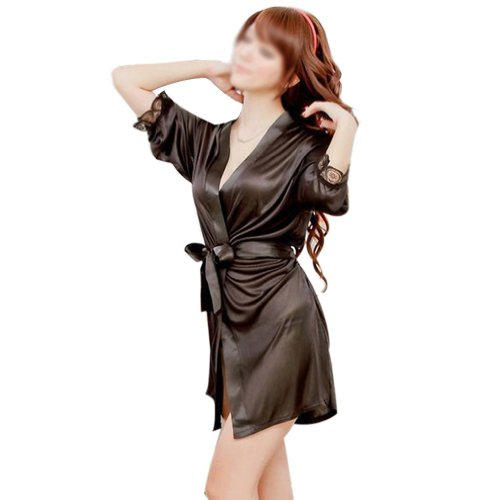 Tm Women Lingerie Satin Robe Silk Lingerie Sleepwear Robes Babydoll Nightwear