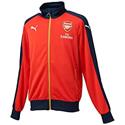 Puma Arsenal Stadium Track Jacket Mens Official Tracksuit Top Red/GoldNew 747598 (XS)