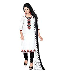Drapes Women's Cotton printed Unstitched Dress Material (White)