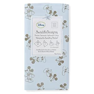 SwaddleDesigns Classic Disney Marquisette Swaddling Blanket, Pastel with Taupe Gray Mickey