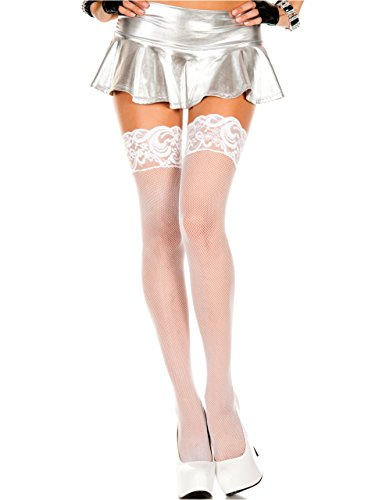 Plus Size White Fishnet Thigh High Stocking with Lace Top Silicone Spandex