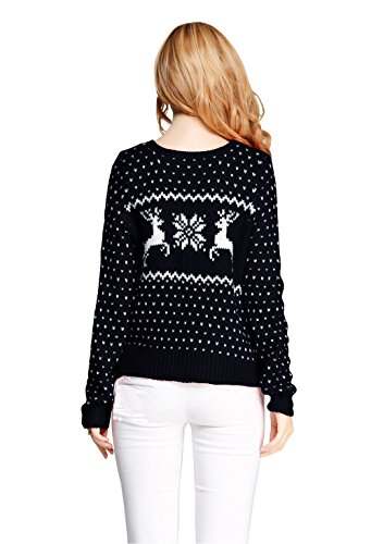 Women Girl Sexy Short Christmas Snowflake Reindeers Jumper Vintage Knit Sweater