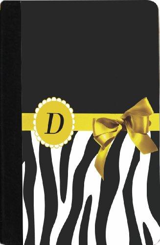 "Rikki Knighttm Letter "" D "" Yellow Zebra Bow Monogram Design Design Kindle® Firetm Notebook Case Black Faux Leather (Not For Kindle Fire Hd) front-607660"