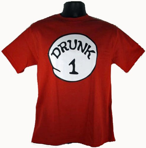 Drunk 1 Funny Costume Red T-Shirt Adult T-Shirt Tee