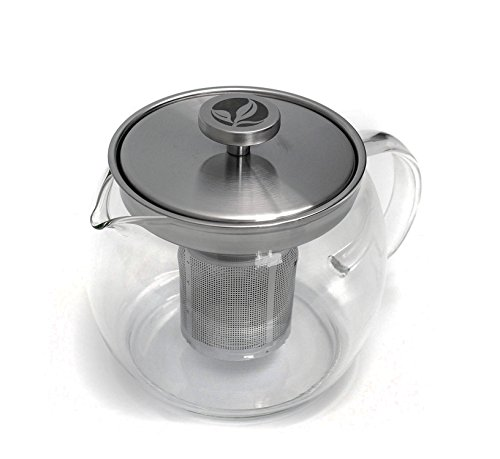 BOJE Teapot - 40oz - Sleek Design Perfect For Looseleaf, Blooming Teas or Tea Bags - Removable Stainless Steel Infuser
