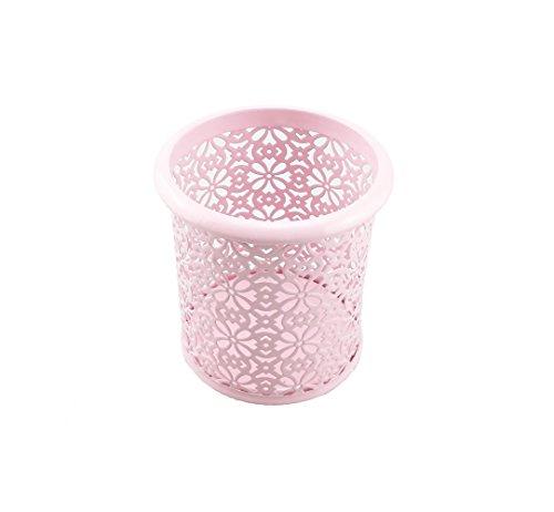 Yueton Hollow Flower Pattern Metal Pen Pencil Makeup Brush Holder Desk Container Organizer (Pink)