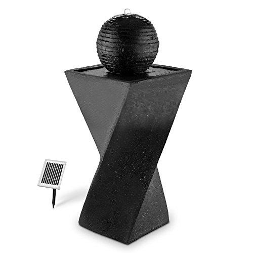 Blumfeldt - Fontaine solaire sur socle de basalte avec boule déco (200 l/h, lumière LED, batterie)