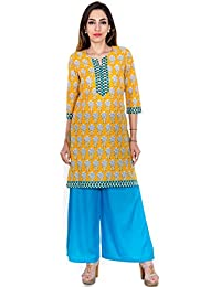 Teej New Women's Gorgeous Ethnic Set Of 1 Cotton Kurti With 1 Rayon Palazzo