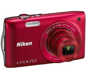 NIKON S3200 - red Plus ENEL19 lithium battery - Nikon EN-EL19 battery equivalent Plus Ultra Compact Case Plus 8 GB SDHC Memory Card