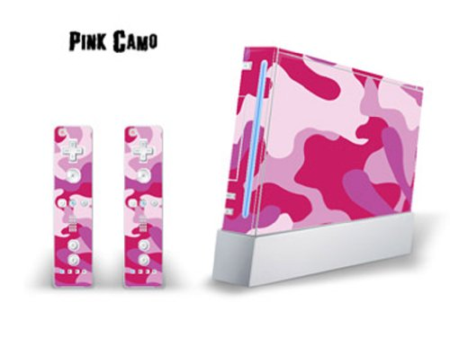 Skin Decal Cover for Nintendo Wii Console + two Wiimote Controllers Sticker- Pink Camo