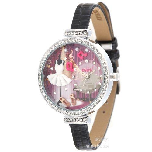Ufingo-Rhinestone Edge Quartz Wrist Watch For Women/Ladies/Girls-Black Leather Strap Music Party Theme Dial