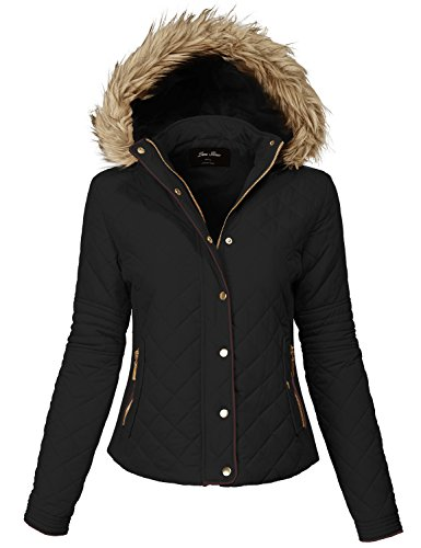Comfortable Fur Trim Hood Quilted Padding Jackets 140-black Medium