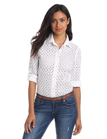Nautica Women's Perfect Eyelet Shirt, Bright White, Small