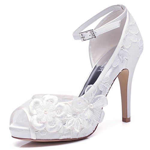 luxveer white lace wedding shoes for bridal with floral brooches
