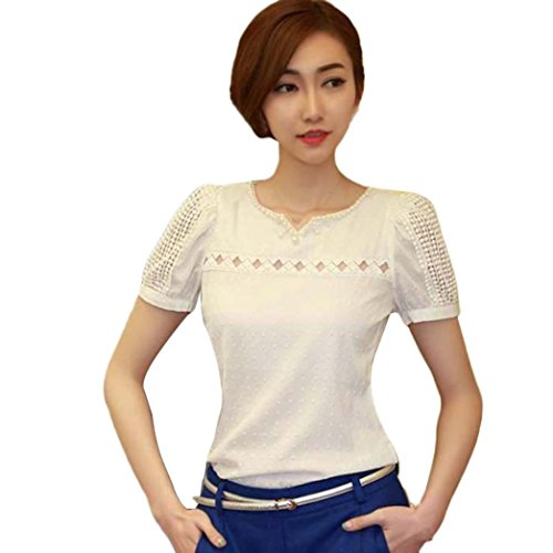 Usstore Women V Neck T-Shirt Lace Short Tee Tops Casual Chiffon Blouse (XL)