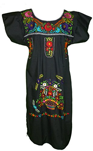 Women's Mexican Embroidered Dress by Campesina Brand - Black