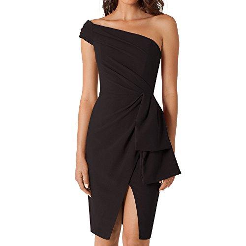 Eliacher Women's One Shoulder Party Black Dress (XL)