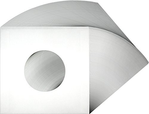 100-White-Paper-Innersleeves-With-a-Hole-for-7-45rpm-Vinyl-Records-07IW-7-18-x-7