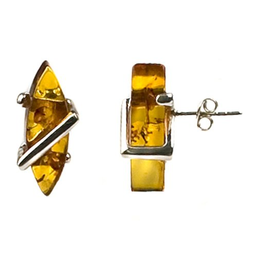 Sterling Silver Honey Amber Medium Earrings