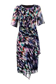 M&S Woman Round Neck Blur Print Dress [T91-1163-S]