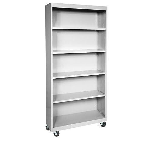 "Sandusky Lee BM40361872-05 Dove Gray Steel Mobile Bookcase, 4 Adjustable Shelves, 200 lb. Per Shelf Capacity, 78"" Height x 36"" Width x 18"" Depth"