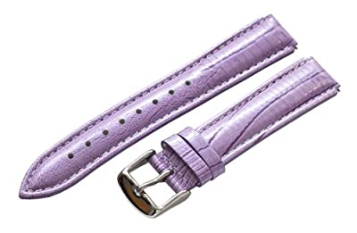 Clockwork Synergy - 18mm x 15mm - Lilac Purple Lizard Grain Leather Watch Band fits Philip stein Small