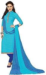 Fabfella Women's Jacquard Dress Material (Sky Blue & Blue)