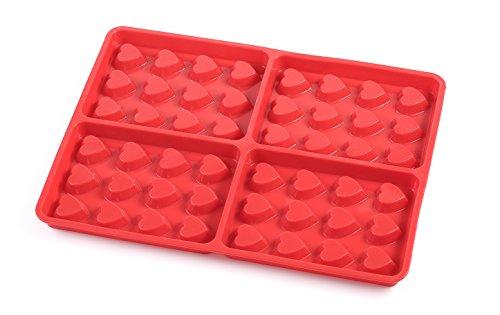 """CÉCOA-WAFFLE TEDDY-Stampo per WAFFLE, in SILICONE, 4 pezzi, motivo: orsetto """"con cuore, Silicone, cuore rosso, Dimensions : 31 Cm X 23 Cm X 2 Cm"""