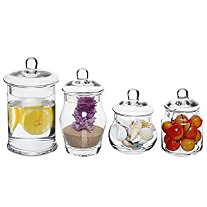 Set of 4 small clear glass bath apothecary for Small bathroom jars