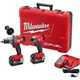 Milwaukee 2897-22 M18 FUEL 2-Tool Combo Kit w/ Hammer Drill, Impact Wrench, 2 Batteries, Charger