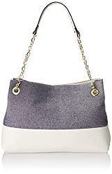 Emilie M. Roxanne Metallic Linen Chain Shoulder Bag