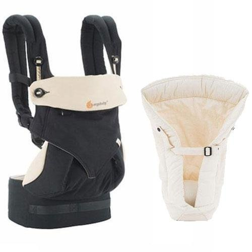 Ergobaby Bundle – 2 Items: Black/Camel 4 Position 360 Carrier with Natural Infant Insert
