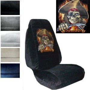 Seat Cover Connection Pirate Dead Men Tell No Tales print 2 High Back Bucket Car Truck SUV Seat Covers - Black