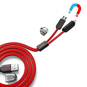 nkomax remax 3.3 Feet 1 M Magnetic Noodle Flat Cable Tangle-free Data Sync 2 in 1 Charging Cord & Data Cable with Micro USB and 8 pin Dual USB Cable for iPhone 6s 6 Plus 5s 5c 5, iPad Pro Air 2, iPad mini 4 3 2, iPod touch 5t