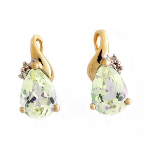 9CT Yellow Gold Diamond Set Teardrop Green Amethyst Stud Earrings