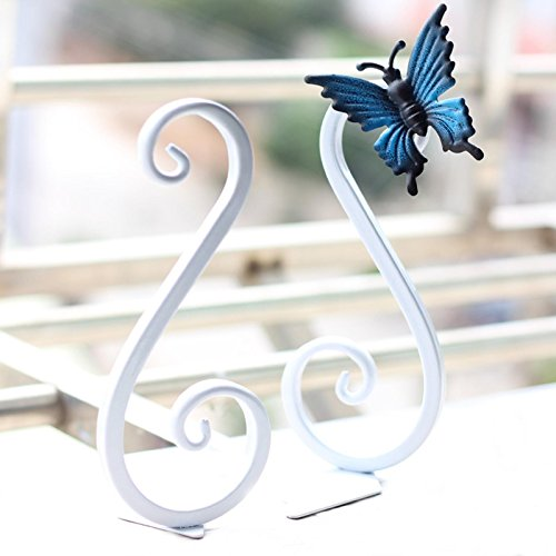 MOEUP 2 x Craft Creative Vintage Metal Bookends with 1 x Decorative Butterfly 85 * 75 * 175mm (White)