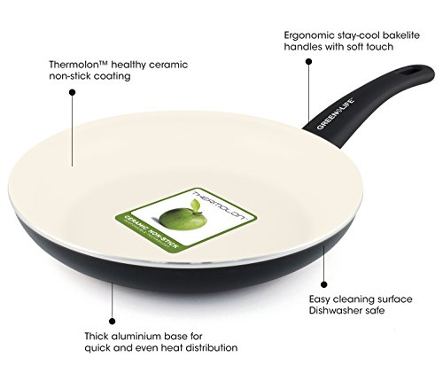"GreenLife Soft Grip 8"" Ceramic Non-Stick Open Frypan, Black"