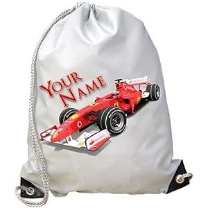 Personalised Kids Formula One F1 Gym / PE / Swimming Bag from BabySmiles