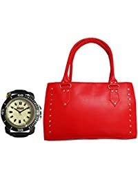 H&H Women HandBag + Watch Combo - Sporty Red Handbag + Sporty Watch Black
