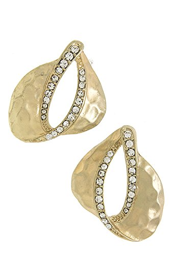 Karmas Canvas Curved Metal Earrings (Matted Gold)