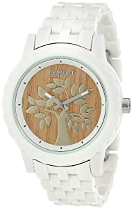 Sprout Women's ST/6802TNWT Wood Dial Tree Motif White Corn Resin Bracelet Watch from Sprout