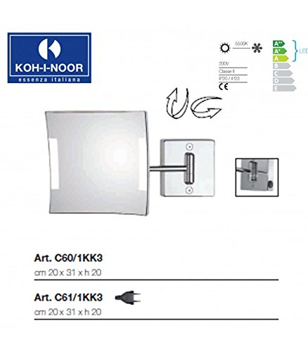 Koh-I-Noor C61/1KK3 Specchio Ingranditore X3 Quadrolo LED, Cromo