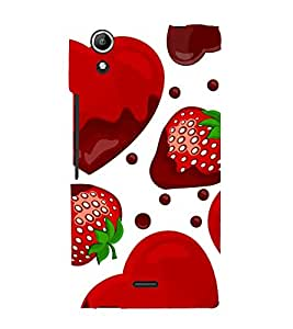 Strawberry Heart 3D Hard Polycarbonate Designer Back Case Cover for Micromax Canvas Selfie 2 Q340