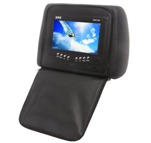 Absolute Com-715Irb 7.5- Inches Headrest Pillow With Zipper Cover, Tft/Lcd Color Monitor, Built-In Ir Transmitter And Remote Control (Black)