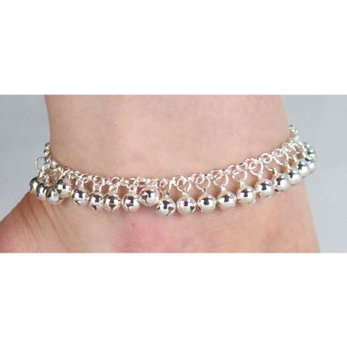 Jewellery of Lords Silver Plated Classic Slave Chain Bell Bells Anklet Barefoot Beach Ankle Foot