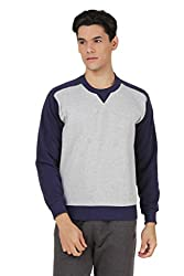 4Stripes Men's Causal Classic Crewneck Sweatshirt (4SSW003_S_GREY)
