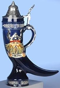 Beer Stein Viking relief horn 0.5 liter tankard, beer mug